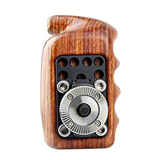 NICEYRIG Wooden Handle Grip with ARRI Rosette for Sony Nikon Canon Camera Cage Shoulder Mount Support Rig System (Left)