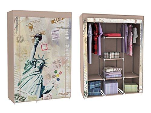 Stoffkleiderschrank Stoffschrank Kleiderschrank mit Freiheitsstatue Motiv New York 6 Fächer 2 Stangen