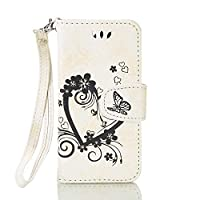 iPod Touch 5 Case,iPod Touch 6 Case, ESSTORE-EU Elegant Love Heart and Butterfly Patterned Embossing PU Leather Stand Function Protective Cases Covers with Card Slot Holder Wallet Book Design Fordable Strap Case for Apple iPod Touch 5 6th Generation, Whit