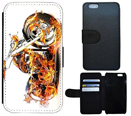 Case Flip Cover Schutz Hülle Handy Tasche Etui für (Apple iPhone 5 / 5s, 1058 Motorrad Schwarz Blau Silber) 1060 Motorrad in Flammen