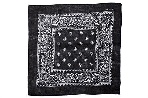 shenky - Bandana - Pañuelo para motorista - 100% algodón - Estampado de cachemira - Negro - Pack de 3 unidades
