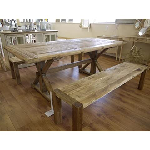 Large Elm Dining Kitchen Table 6'7 & Two Benches by