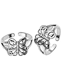 Peora Sterling-Silver Artistic Butterfly Toe Rings for Women