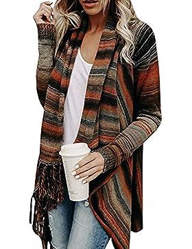 Juleya Poncho para Mujer - Cardigan Elegante para Mujer Jersey Turtleneck Cardigan Irregular Tops para Otoño Invierno...