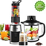 Blender Smoothie Maker/Blender Fochea Blender, 700 Watt, 3 in 1 Multi Function Smoothiemaker and Meat Chopper Ice Crusher/Coffee Mill 24000U/min with 570 ml Sports Bottle BPA Free Tritan