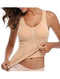 MISS MOLY Mujer Modeladora Camiseta Cintura Ceñido Tank Top Chaleco Negro/Beige/Blanco