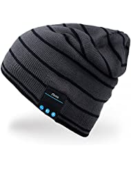 Rotibox Bluetooth Beanie Music Soft Warm Hat Cap with Wireless Headphone Headset Stereo Speaker Mic Hands-free,Best Birthday Christmas Gift for Winter Outdoor Sport Skiing Snowboard Hiking- Gray