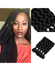Golden Rule 5 pièces 61 cm tressage Extensions de cheveux synthétiques Jumbo tressage Cheveux Kanekalon Noir