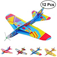 YeahiBaby 12pcs Flying Glider Aviones lanzando Whirly Foam Glider Planes Perfect Party Favors for Kids Boys Girls (Patrón Aleatorio)