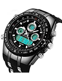 Mens Digital Sports Watch Military Big Face Waterproof Analogue Watch Stopwatch Army Shock Resistant LED Backlight Casual Wrist Watches for Men Black