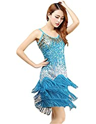 61995579ac BOZEVON Mujer Moda Sin Mangas Vestido Danza Latino Traje Lentejuelas Borla  Baile Tango Salsa Deportivo Salón
