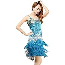 BOZEVON Mujer Moda Sin Mangas Vestido Danza Latino Traje Lentejuelas Borla  Baile Tango Salsa Deportivo Salón ca89b859688f