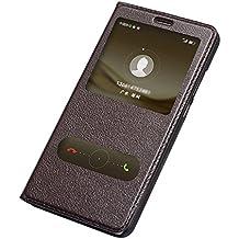 AddGuan Huawei Mate 9 Funda,Piel Genuina Delgado Caso Tirón ,Elegante Ventana vista , PC Material inferior cáscara Para Huawei Mate 9 - Marrón