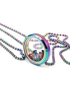 EVERLEAD regenbogen - schwebenden medaillon halskette aus edelstahl 316l medaillon anhänger