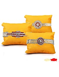 Tied Ribbons Set Of 3 Rakhi With Roli Chawal Pack For Brother(Men)