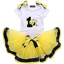 Bebé Niña Vestido Cumpleaños 3pcs Corona Patrón de Primer/Segundo Cumpleaños ...