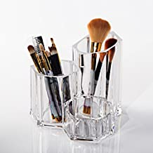 Cuadro de almacenamiento de cepillo de maquillaje transparente, lápiz de labios lápiz labial colección de lápiz ceja, maquillaje cosméticos cubo de plástico