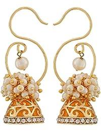 Die Jewelbox orange Meenakari Gold vergoldet Perlen Jhumki Ohrring für Frauen