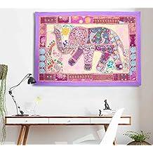 Elefante étnico bordado patchwork pared colgante tapiz de sala de estar púrpura decoración de ...