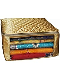 Fancy Walas™ Saree Cover Extra Large Size In Golden Quilted Satin (with Capacity Of Upto 15 Sarees) - B07D6S9FCJ