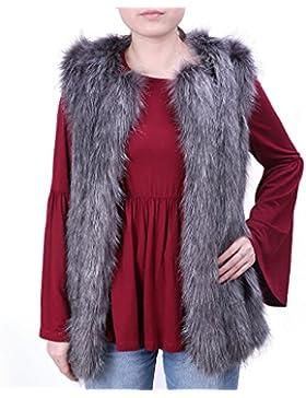 Ingsist Chaleco de piel sintética de las mujeres chaleco chaqueta de chaleco largo sin mangas