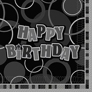 Unique Party-Paquete de 16 servilletas de papel Happy Birthday, color negro, Feliz Cumpleaños (28472)