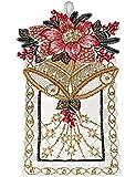 Fensterbild Plauener Spitze Weihnachten 15x27 cm + Saugnapf Christrose Glocken Spitzenbild Advent (Rot)