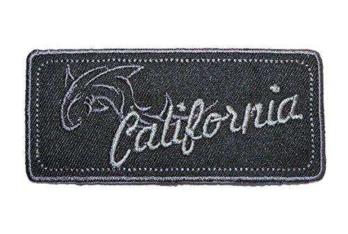 Emblem 9 cm * 4 cm Bügelbild schwarz California Delfin Abzeichen eckig Orden (Delfine Uniform)