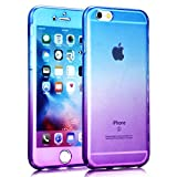 iPhone SE Case [Non-slip],Vandot Shockproof Ultra Thin Slim Fit Soft TPU Silicone All Round Front and Back Full Body 360 Degree Protective Case Cover For Apple iPhone SE 5S 5-Transparent Purple Blue