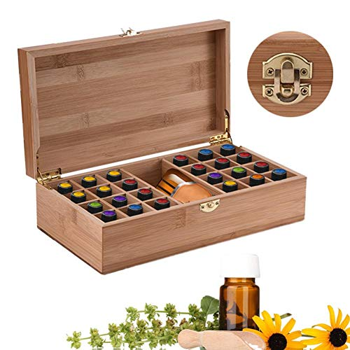 soundwinds Essential Oil Wooden Box Storage Case Aromatherapy Storage Box  with 25 Grids Bamboo Organizer Storage Box for Essential Oil Holder Display