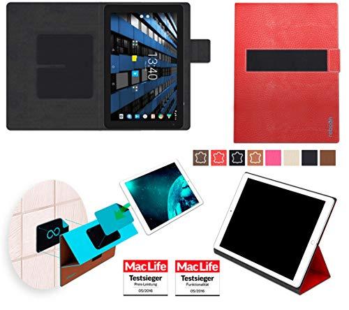 reboon Hülle für Archos Diamond Tab 2017 Tasche Cover Case Bumper | in Rot Leder | Testsieger