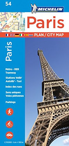 Michelin Paris Street Map + Index Map 54