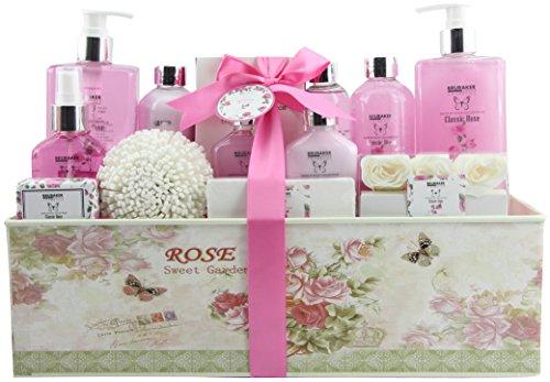 BRUBAKER Cosmetics Bade- und Dusch Set Rosen Duft - 17-teiliges Beauty Geschenkset in Vintage Geschenkbox -