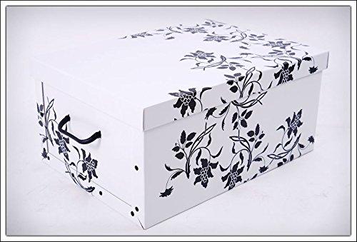 3er Set Aufbewahrungsbox in 3 Farben (weiß, schwarz und grau) mit jeweils 45 Liter Inhalt - Blumenmuster im Barock Stil - 2