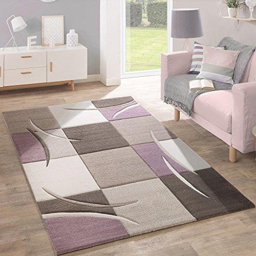 Designer tappeto moderno taglio sagomato colori pastello con motivo a quadri in beige lilla, dimensione:160x230 cm