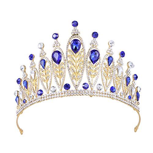 Frcolor Couronne de mariée Baroque Strass chapellerie Bijoux de Coiffe de Mariage pour Fille Femme Dame (Bleu Saphir)