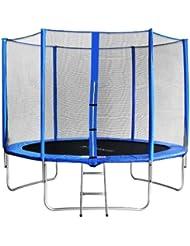 SixBros. Sixjump 3,05 M Trampoline de jardin bleu Certifié par Intertek / GS - Filet de sécurité - Échelle - Housse de protectio - CST305/L1693