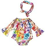 Chicolife 2-3 Jahre alt Printing Body Neugeborenes 18-36 Monate Littel Kinder voller Hülse Bodysuits jumsuit mit Stirnband - Set für Baby