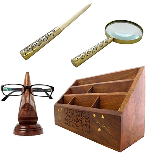 Sheesham Holz Sockel (Vater Tag Geschenk-Set handgefertigt woodand Messing Buchstabe Rack Mag Glas Brieföffner)