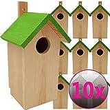 PROHEIM Nistkasten Green 10er Pack 23 x 10 x 10 cm aus FSC Holz Nisthaus perfekt für Meisen Kohlmeisen Kleiber Rotschwänzchen und weitere Vogelarten Vogelnistkasten
