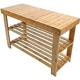 100% Pure Bamboo Bench Shoe Rack 2-Tier Shelf Spa Storage Organizer