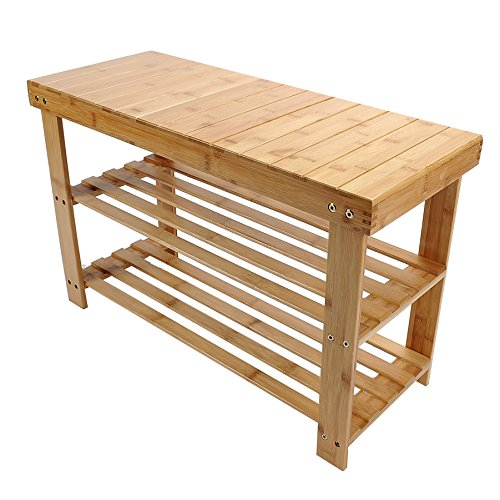 100% Pure Bamboo Bench Shoe Rack 2-Tier