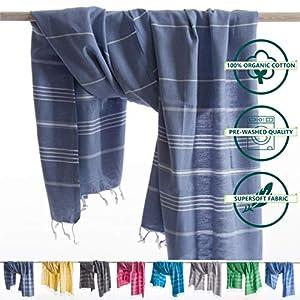 ANATURES Hamamtuch XL Playa | Premium - Oeko-TEX® - Fairtrade - Gekämmte Bio Baumwolle - Saunatuch Badetuch Duschtuch Pestemal Fouta Pareo Hammam Tuch Sporttuch XXL (Denimblau, 95 x 185 cm)