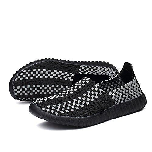Peggie House Sport Chaussures De Couple Modèles Tissé Chaussures Casual Hommes Et Femmes Chaussures tissées Taille: 35-44 Noir
