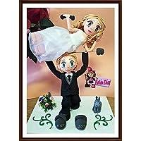 Fofuchas Novios enamorados figura tarta nupcial boda con mascota y pesas