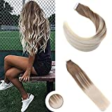 Ugeat 20 Zoll Ombre Tape in Menschliche Exhthaar Extensions 50Gram 20Pcs Balayage Skin Weft Seamless Glue in Real Remy Tressen Echthaar Extensions #2/6/60