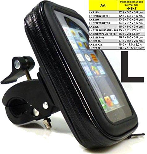 LKB29L - Soporte de moto o bicicleta para móvil, liberación rápida, soporte para Apple iPhone 6, iPhone 6Plus, Samsung A5 Alpha, apto para lluvia y nieve, impermeable, funda protectora, montaje rápido, se puede girar 360 grados, ajustable, para móviles, navegadores, baterías, tablet, Navigon, Google Maps, regalos para hombres, Ideal para funcionamiento con funda, protección o carcasa