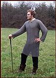 Kettenhemd Hauberk, Flachring mit Keilnieten vernietet, ID 8 mm, Gr. XL von ULFBERTH voll schaukampftauglich