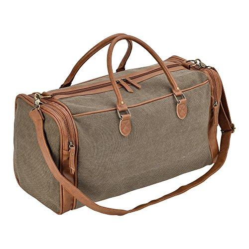 3c5a375b6db78  neu.haus ® Reisetasche Dunkelgrau Braun Canvas - 27 x 54 x 23 cm  Kunstleder Tasche Sporttasche für Damen und Herren
