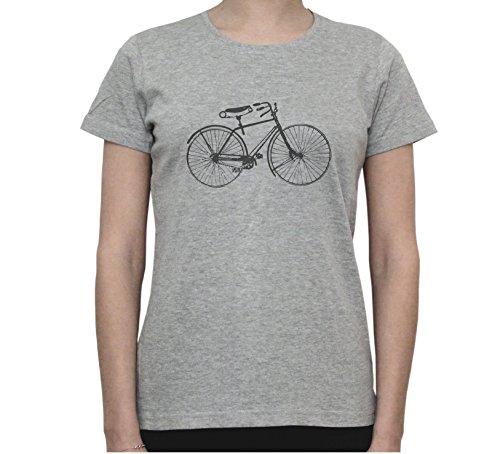 Vintage Bicycle Black & White Art Graphic Women's T-Shirt Gris